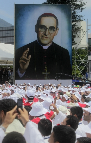 Pilgrims gather for Archbishop Oscar Romero's beatification Mass in the Divine Savior of the World square in San Salvador May 23. CNS photo by Oscar Rivera, EPA.