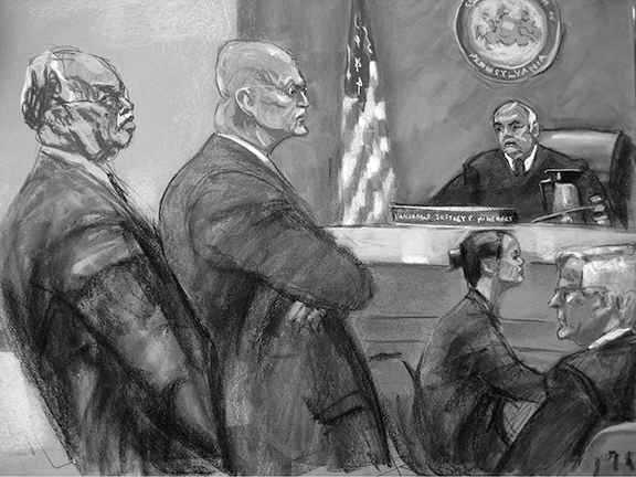 This sketch depicts the court proceedings of abortionist Dr. Kermit Gosnell's trial. Gosnell (far left) was convicted on over 243 counts, including first-degree murder, infanticide, involuntary manslaughter, and performing illegal late-term abortions.