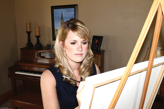 """Julie Holthaus was inspired to paint while growing up on a cattle ranch near St. Benedict. """"There is an integrity and salt-of-the-earth-type humility that often accompanies working the land and working with livestock,"""" Holthaus said. """"And art can be a way to give that a greater voice."""""""