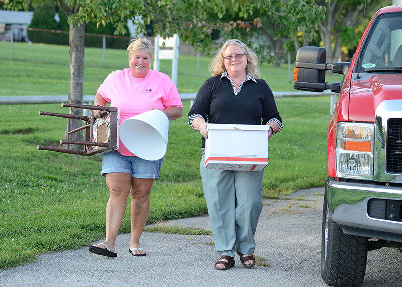 LEAVEN PHOTO BY JILL RAGAR ESFELD Truck owner Denise Dressler is one of three women Sister Bridget Dickason relies on to help pick up and deliver donated furniture to those in need.