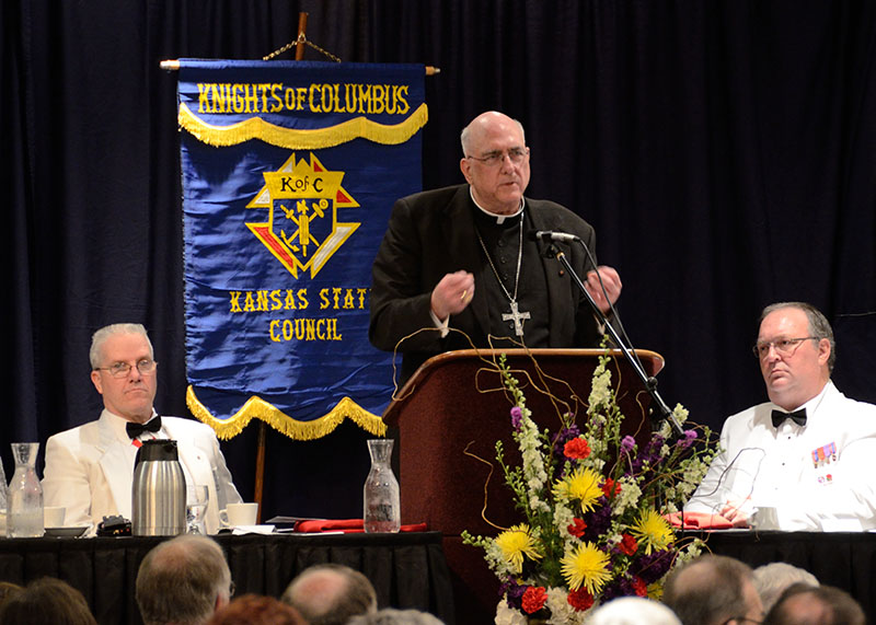 Archbishop Joseph F. Naumann delivers the keynote address at the Knights of Columbus state convention in Topeka.