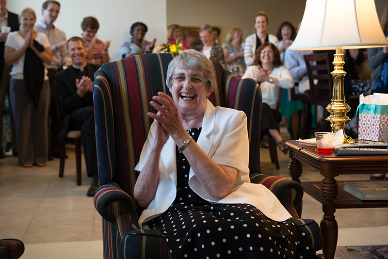 LEAVEN PHOTO BY JOE BOLLIG Chancery employees turned out in force to honor Sister Susan Pryor, SCL, who had greeted them at the door of the archbishop's residence for almost two decades now. Knee replacement surgery has caused her to consider other options — which might include returning to her first love, teaching.