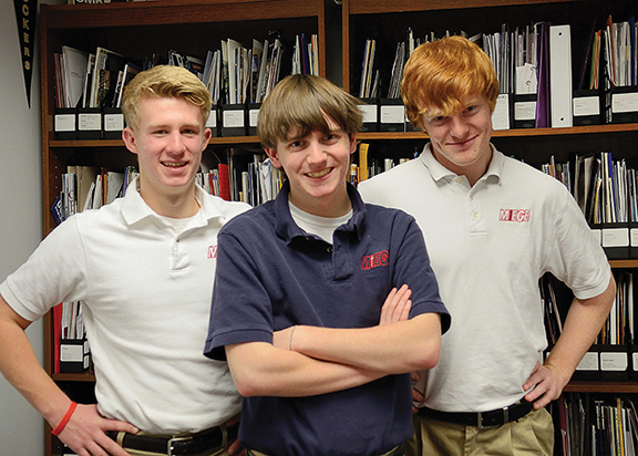 LEAVEN PHOTO BY JILL RAGAR ESFELD Three Bishop Miege seniors scored a near-perfect 35 on their ACT college assessment tests: from left, Andy Slettehaugh, Daniel Mitchell, and Russsell Grey.