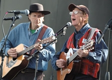 Leaven photo by Jill Ragar Esfeld CFCA co-founder and president Bob Hentzen (right), accompanied on guitar by CFCA director of global strategy Paul Pearce, sang songs he learned during his 8,000-mile walk from Guatemala to Chile in solidarity with the poor.
