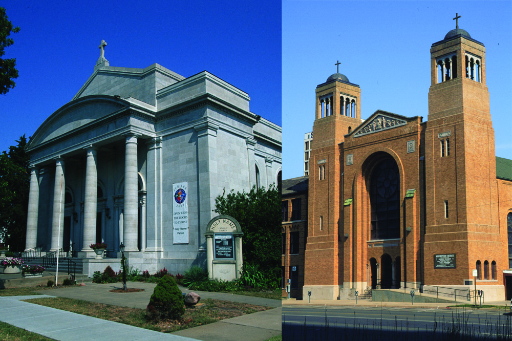 Mater Dei Parish in Topeka is comprised of Holy Name Church, left, and Assumption Church, right. Both churches have listings in the National Register of Historic Places. Assumption received its designation in 2008 while Holy Name received its designation this year.