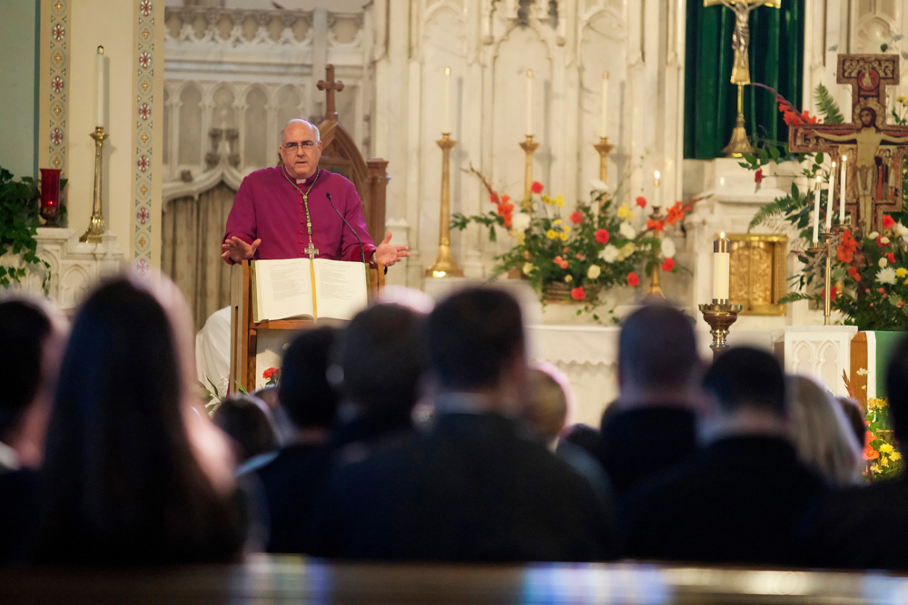 Archbishop Joseph F. Naumann met with more than 100 young adults at the Trust One Greater event June 16 at the Cathedral of St. Peter in Kansas City, Kan. The evening included a question-and-answer session with the archbishop, eucharistic adoration, as well as social time following the event.