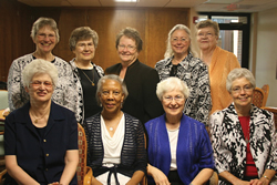 Good as gold Celebrating their golden jubilees as Benedictines are: (front row, from left) Sisters Eleanor Suther, Genevieve Robinson, Martha Schweiger, and Joanne Yankauskis; (back row, from left) Sisters Therese Elias, Mary Margaret Kean, Loretta McGuire, Linda Zahner, and Jeannine Neavitt.