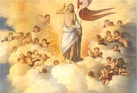 """""""The Ascension,"""" by 16th century artist Dosso Dossi, depicts a heavenly and earthly plain. Earth is considered the Church Militant because the living are still engaged in a daily battle against evil. Heaven is the Church Triumphant, referring to those who are in heaven and see the full light of God."""