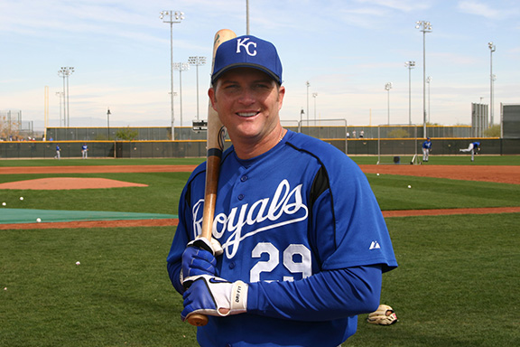 Kansas City Royals baseball player Mike Sweeney poses before a March 9 spring training game against the Texas Rangers in Surprise, Ariz. The five-time All-Star first baseman gives a lot of praise to God and uses him as a beacon to guide his life. Sweeney plans to join players around the league in November on a pilgrimage to meet Pope Benedict XVI in an effort to bring Catholic values into Major League Baseball. (CNS photo/Karl Bierach, New Vision) (March 24, 2006) See BASEBALL-SWEENEY March 24, 2006.