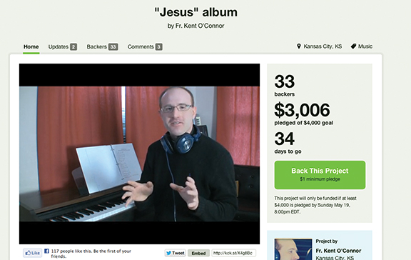 "A screen shot from www.kickstarter.com shows the number of backers and money raised for Father Kent O'Connor's ""Jesus"" album as of April 15."