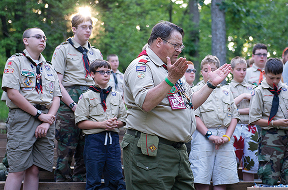 Leaven reporter Joe Bollig has started a Catholic ministry at Camp Theodore Naish, a Boy Scout camp in Bonner Springs. Bollig has been involved in the Boy Scouts since the 1970s. Photo by Bridget McSorley.