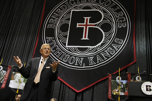 "Former Notre Dame head coach Lou Holtz delivers the keynote address at Benedictine College's opening convocation in Atchison on Aug. 28. ""You certainly made a good choice by coming to Benedictine College,"" he told the students. ""It's a very special place with special people."" Photo by Megan Bickford"