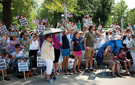 Thousands gathered at the state Capitol this summer to protest an attack by the Obama administration on religious freedom triggered by the Catholic Church's opposition to the Affordable Care Act, which has mandated contraception coverage.