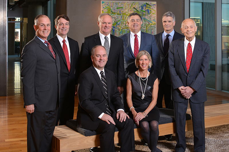 Seated are Paul and Mary Thompson, presidents of the 2015 Snow Ball which will be held Jan. 24 at the Sheraton Hotel at Crown Center Exhibition Hall in Kansas City, Missouri. Behind them are the honorary presidents, from left: Bill Dunn Jr., Bob Dunn, Terry Dunn, Steve Dunn, Kevin Dunn, and Bill Dunn Sr.