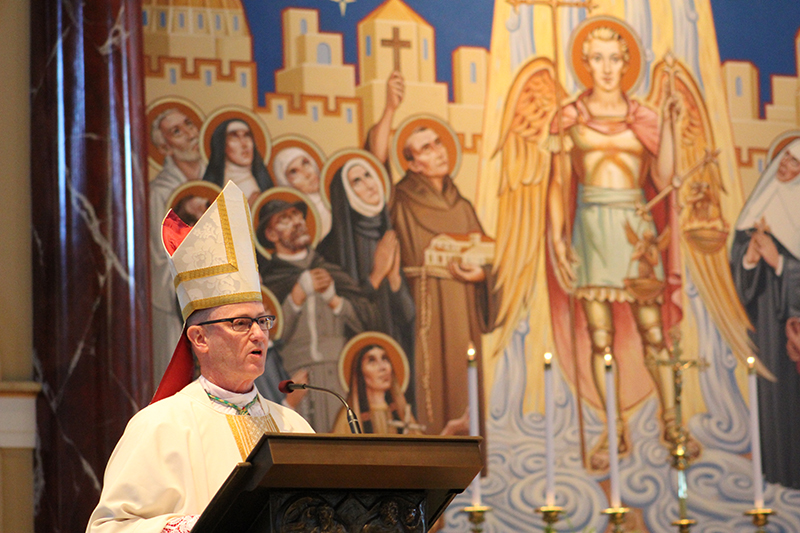 Bishop James Conley of Lincoln, Nebraska, delivers the homily at the White Mass Feb. 14 at St. Michael the Archangel Church in Leawood.