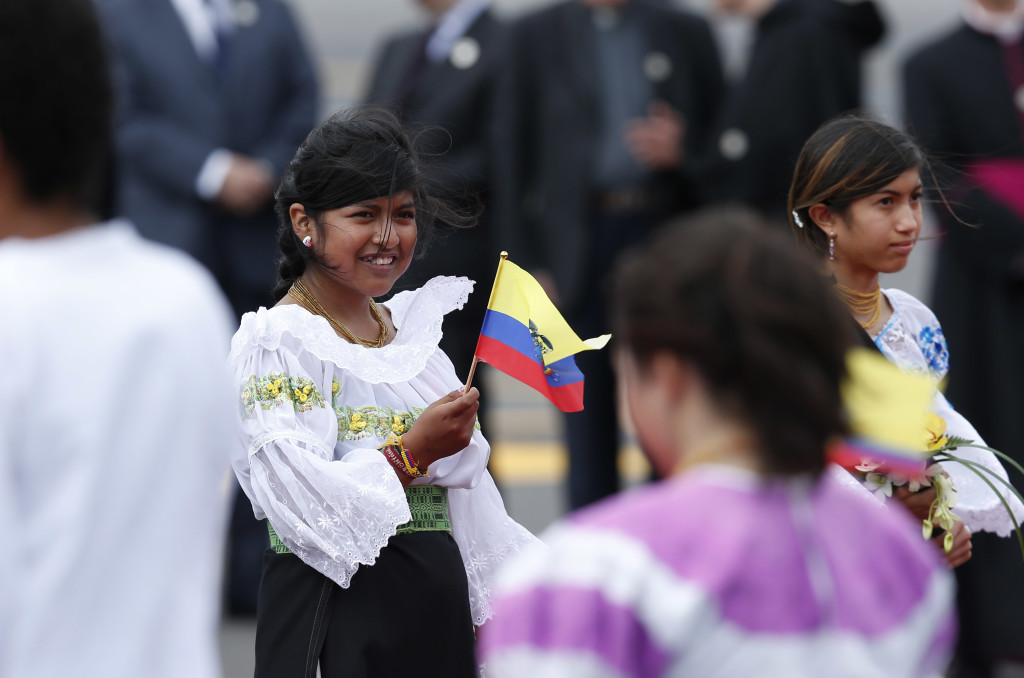 Children participate in the arrival ceremony for Pope Francis at Mariscal Sucre International Airport in Quito, Ecuador, July 5. The pope is making an eight-day trip to Ecuador, Bolivia and Paraguay. (CNS photo/Paul Haring) See POPE-QUITO July 5, 2015.
