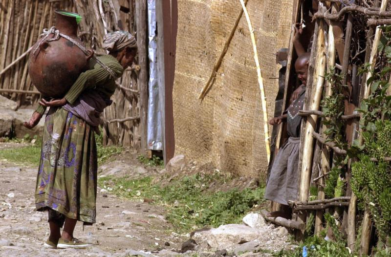 In this 2003 file photo, a women carries water to her family in Addis Ababa, Ethiopia. Cardinal Berhaneyesus Souraphiel of Addis Ababa says different countries face different challenges to the family, and he predicts flexibility in church teaching. (CNS photo/Stephen Morrison)