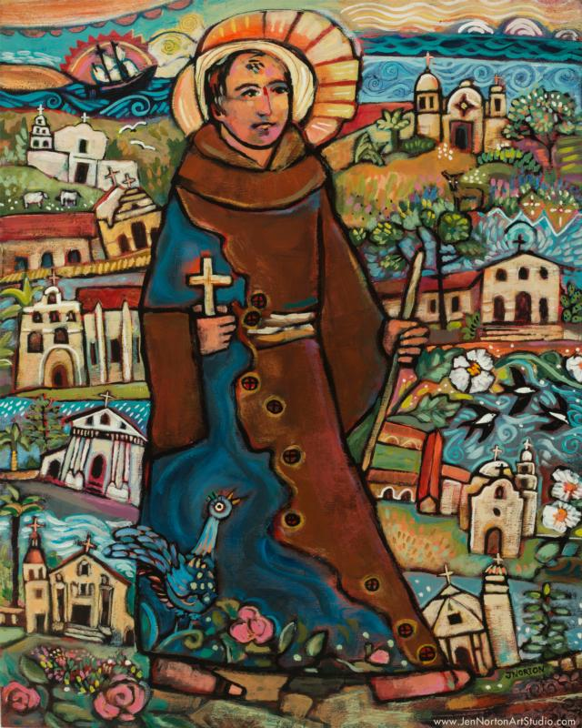 This acrylic on wood painting of Blessed Junipero Serra and his nine missions was executed by Catholic folk artist Jen Norton earlier this year. (CNS photo/courtesy of Jen Norton)