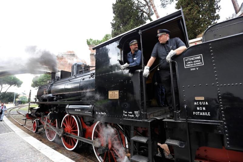 A historic train leaves from the Vatican rail station to the papal villa at Castel Gandolfo, Italy, during a special tour for journalists Sept. 11. The Vatican Museums and the Italian railway have partnered to offer train tours from the Vatican to Castel Gandolfo. The tours, which will use a regular train, will allow visitors to enter the papal villa and see a new museum housing papal artifacts and portraits. The tour also includes the Italian Renaissance-style Barberini Gardens. (CNS photo/Giampiero Sposito)