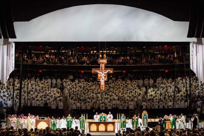 Pope Francis celebrates Mass at Madison Square Garden in New York Sept. 25, day four of his six-day visit to the United States. (CNS photo/Andrew Burton, pool)