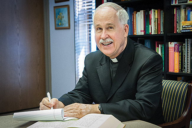Father Mike Stubbs is the pastor of Holy Cross Parish in Overland Park and has a degree in Scripture from Harvard University.