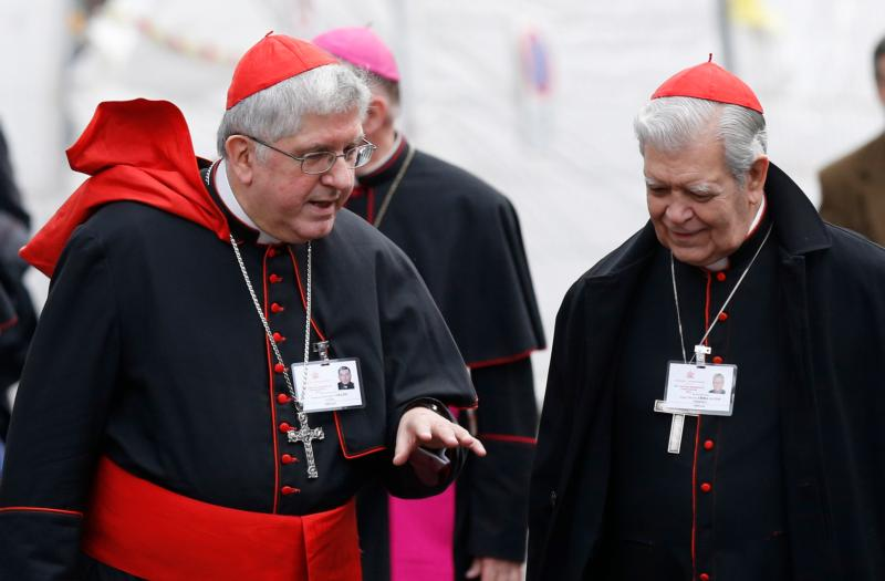 Cardinals Thomas Collins of Toronto and Jorge Urosa Savino of Caracas, Venezuela, talk as they arrive for a session of the Synod of Bishops on the family at the Vatican Oct. 14. (CNS photo/Paul Haring)