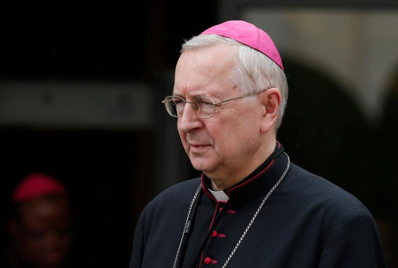 Archbishop Stanislaw Gadecki of Poznan, president of the Polish bishops' conference, leaves a session of the Synod of Bishops on the family at the Vatican Oct. 14. (CNS photo/Paul Haring)