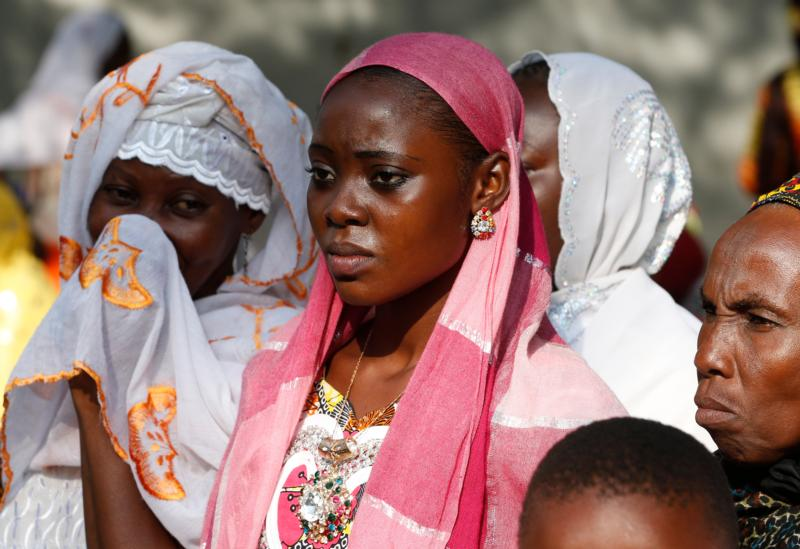Muslim women wait for Pope Francis' arrival for a Nov. 30 meeting with the Muslim community at the Koudoukou mosque in Bangui, Central African Republic. (CNS photo/Paul Haring)