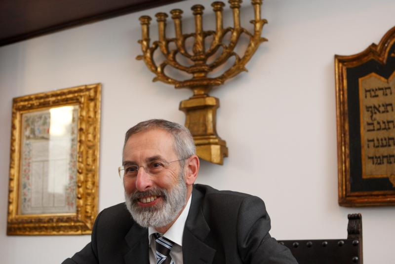 Rabbi Riccardo Di Segni, chief rabbi of Rome, is seen during an interview in his office in Rome in this Jan. 12, 2010, file photo. Pope Francis will follow in his predecessors' footsteps and visit Rome's synagogue Jan. 17. Pope Benedict XVI visited the synagogue in 2010 and St. John Paul II in 1986. (CNS photo/Paul Haring)