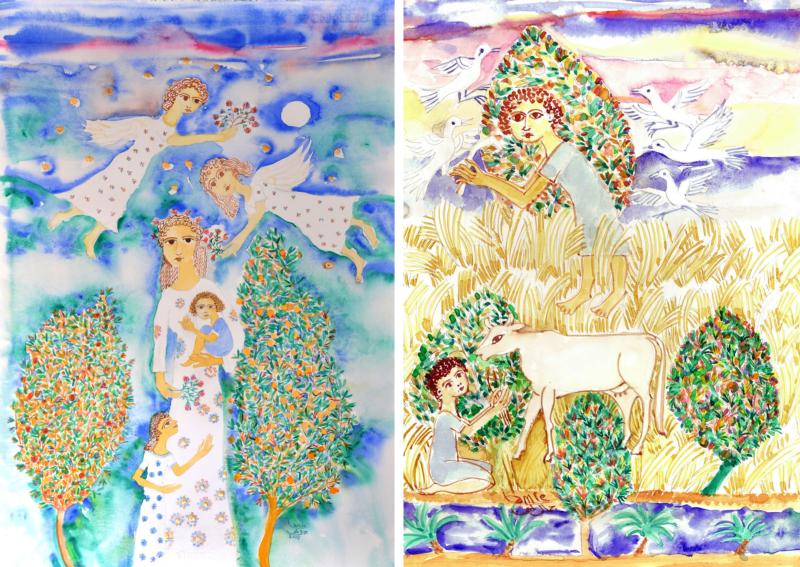 These two watercolor painting are by Egyptian artist Gamal Lamie. His paintings at a Cairo art gallery depict calm mothers with serene children, shining stars, doves, flowers, trees, fish and blue waters, the many attributes of an Egypt that once existed, and, he believes, can again be achieved. (CNS photo/courtesy Gamal Lamie)