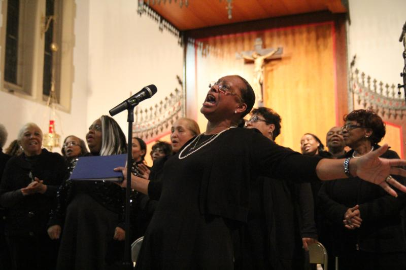 The Philadelphia Catholic Mass Choir leads the congregation in song Jan. 18 during at the archdiocese's 33rd annual service marking the Rev. Martin Luther King Jr.'s birthday at St. Katharine Drexel Church in Chester, Pa. (CNS photo/Sarah Webb, CatholicPhilly.com)