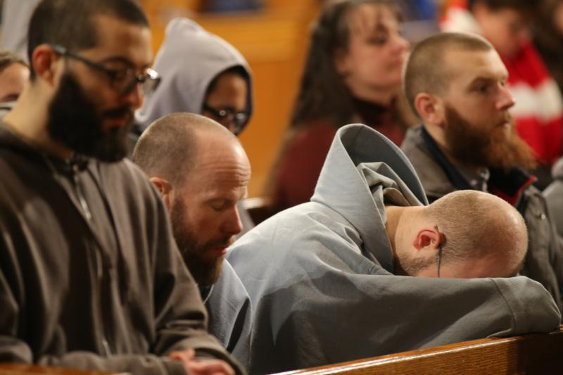 Monks pray during the closing Mass for the National Prayer Vigil for Life at the Basilica of the National Shrine of the Immaculate Conception in Washington Jan. 22. Later that day pilgrims gathered on on the grounds of the Washington Monument for the annual March for Life. (CNS photo/Bob Roller)