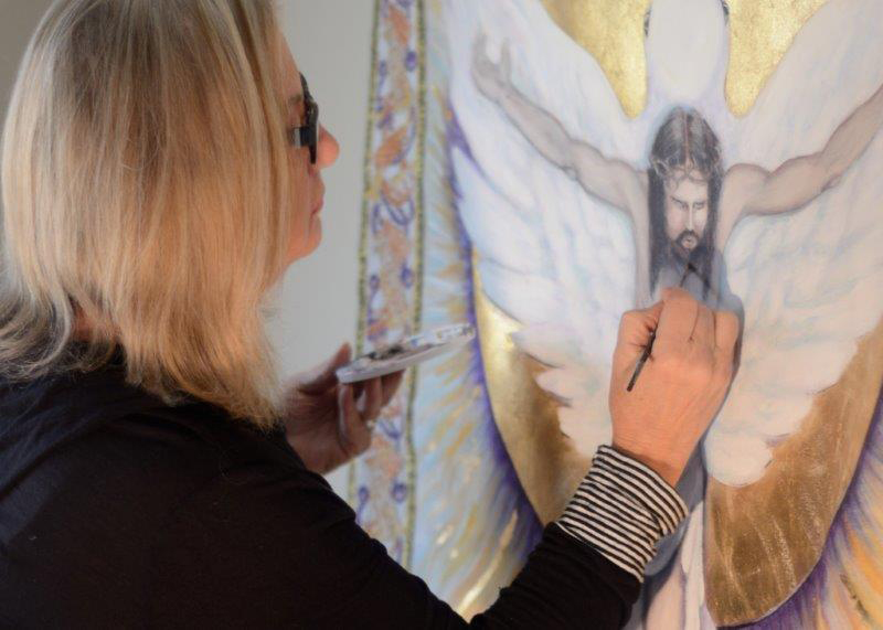 Cookie Moffitt, A Professional Artist And Member Of Holy Trinity Parish In  Lenexa, Puts