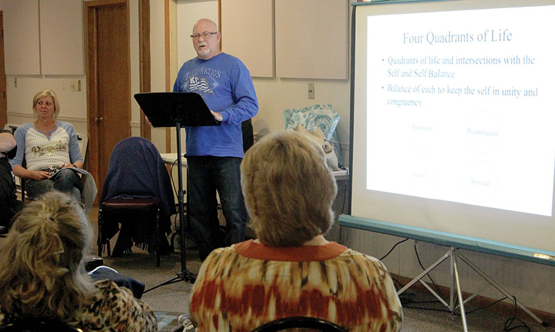 Dr. Mike Moffit, a professional psychologist, leads a training session at St. Gregory Church in Marysville that talks about various teenage issues and how rural parishes can effectively deal with them. Photo by Marc Anderson.