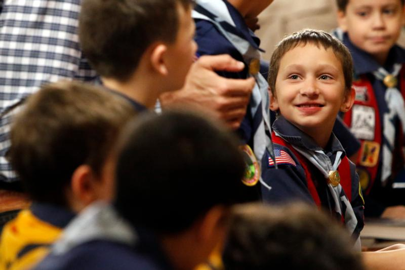 Cub Scout Thomas Dono, 8, smiles during a Scout Sunday Mass Feb. 7 at Immaculate Heart of Mary Church in the Windsor Terrace neighborhood of the New York borough of Brooklyn. (CNS photo/Gregory A. Shemitz)