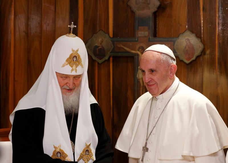 Pope Francis and Russian Orthodox Patriarch Kirill of Moscow meet at Jose Marti International Airport in Havana Feb. 12. The pope was traveling to Mexico for a six-day pastoral visit. (CNS photo/Paul Haring)