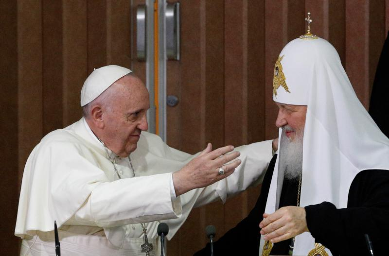 Pope Francis prepares to embrace Russian Orthodox Patriarch Kirill of Moscow after the leaders signed a joint declaration during a meeting at Jose Marti International Airport in Havana Feb. 12. (CNS photo/Paul Haring)
