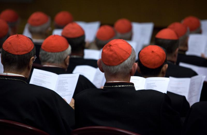 In this Oct. 20, 2014, file photo, cardinals gather in the Synod Hall at the Vatican. Church experts say synods should get more input from lay faithful. (CNS photo/Maria Grazia Picciarella, Pool)