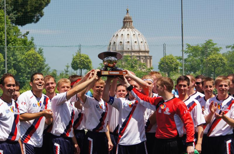 In this 2013 file photo, Pontifical North American College seminarians celebrate after winning the Clericus Cup in Rome. Celebrating its 10th anniversary, the Clericus Cup soccer series for priests and seminarians studying in Rome welcomed three new teams to its 2016 league. (CNS photo/Christopher Brashears, PNAC Photo Service)