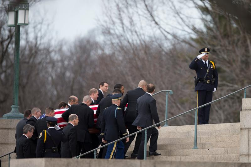 Pallbearers carry the casket of the late Supreme Court Justice Antonin Scalia up the steps at the Basilica of the National Shrine of the Immaculate Conception in Washington for his Feb. 20 funeral Mass. (CNS photo/Tyler Orsburn)