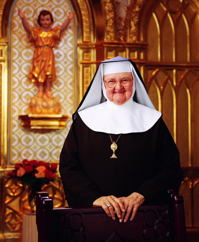 """Mother Angelica is seen in this undated photo. In an early morning tweet Feb. 22, the Eternal Word Television Network said its founder,92, remains in a """"delicate"""" condition. Members of her religious order, the Poor Clares of Perpetual Adoration at Our Lady of Angels Monastery in Hanceville, asked for prayers for her. (CNS photo/courtesy EWTN)"""