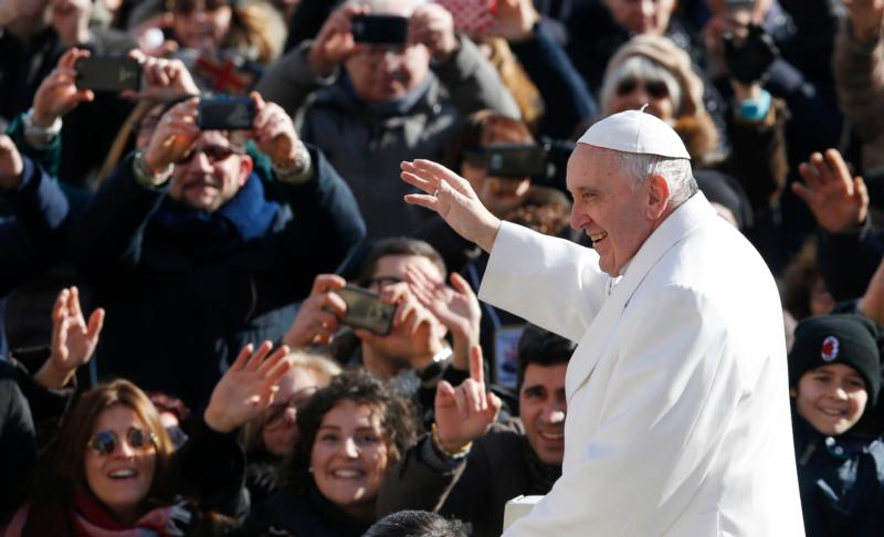 Pope Francis is seen at St. Peter's Square at the Vatican Feb. 6. (CNS photo/Paul Haring)
