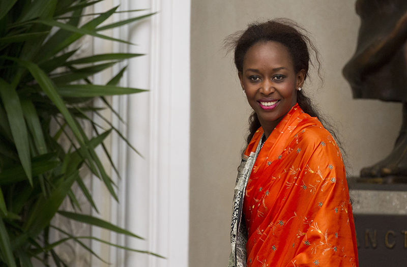 Rwandan genocide survivor Immaculee Ilibagiza has become an American citizen. A best-selling author, Ilibagiza has given talks around the country about the 1994 slaughter in her home country and how her Catholic faith and trust in God helped her survive. She is seen in a 2012 photo at the papal villa in Castel Gandolfo, Italy. (CNS photo/Paul Haring) (April 18, 2013)