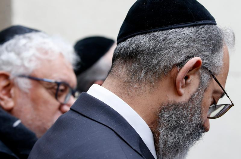 Jewish men are seen in Marseille, France, Jan. 14. (CNS photo/Guillaume Horcajuelo, EPA)
