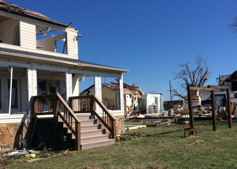 Damaged houses are seen Feb. 28 at Naylors Beach in Warsaw, Va. (CNS photo/Courtesy The Catholic Virginian)