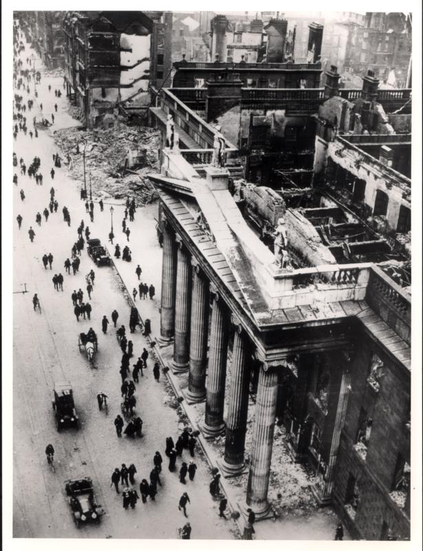 The damaged Dublin General Post Office is seen in a photograph taken after the Easter Uprising of 1916. The six-day insurrection by Irish rebels against British rule divided Ireland for a century. (CNS/Bridgeman Images)