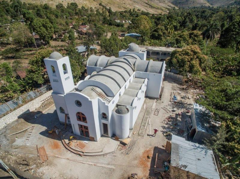 St. Genevieve Church in a mountainous rural area northwest of Port-au-Prince, Haiti, was nearing completion in January as seen in this image from a drone. The church was built by the Partnership for the Reconstruction of the Church in Haiti with funds donated by U.S. parishioners and other donors worldwide.