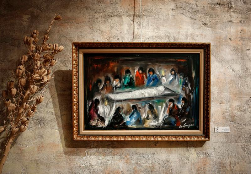 The 14th station — Jesus is laid in the tomb — is seen on exhibit at the DeGrazia Gallery in the Sun in Tucson, Arizona, Feb. 12. Arizona artist Ted DeGrazia painted the series in 1964 for the Newman Center at the University of Arizona. (CNS photo/Nancy Wiechec)
