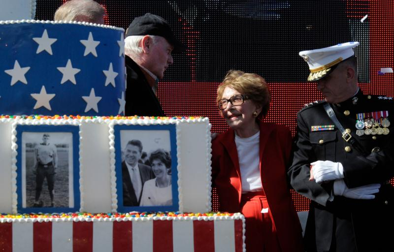 Former first lady Nancy Reagan celebrates what would have been U.S. President Ronald Reagan's 100th birthday in Simi Valley, Calif., in this Feb. 6, 2011, file photo. (CNS photo/Mike Nelson, EPA)