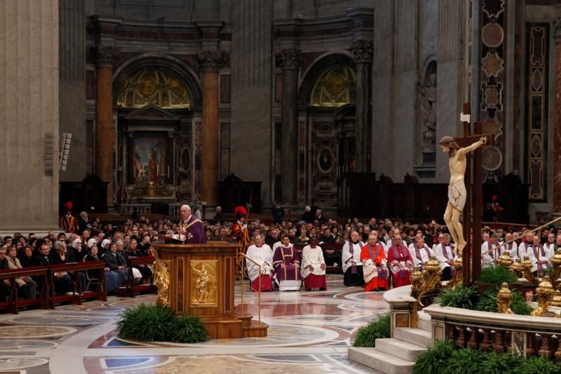 Pope Francis leads a penitential liturgy in St. Peter's Basilica at the Vatican in this March 28, 2014, file photo. (CNS photo/Paul Haring)